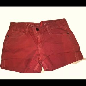 The Earnest Sewn Red denim shorty shorts